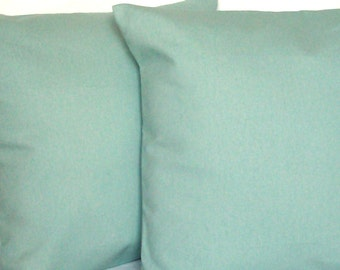 Solid Spa Blue Cushion Cover, 18x18 or 20x20 inch Decorative Throw Pillow Cover - Aqua Blue Solid, More Sizes Available