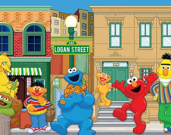 Sesame Street Themed Backdrop - .JPEG File via Email Delivery - You Print Your Own