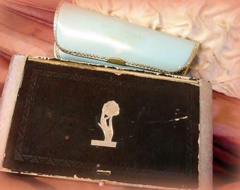 shabby vintage deco era paperboard box with lid + mid century aqua patent eyeglasses case