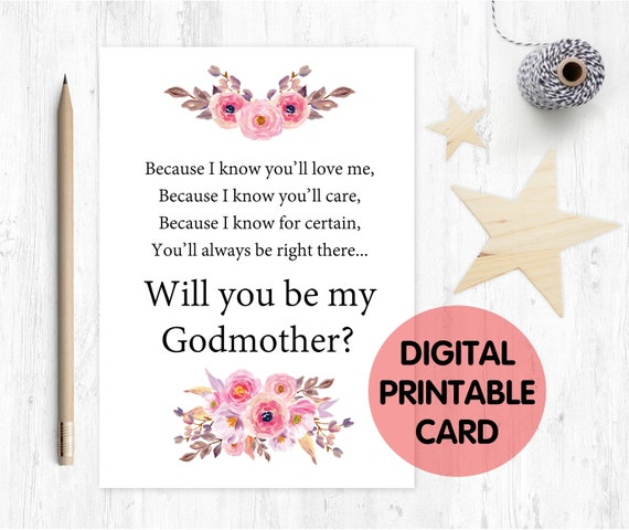PRINTABLE will you be my godmother card, godmother card, printable godmother card, godmother poem, floral, godmother poem card printable