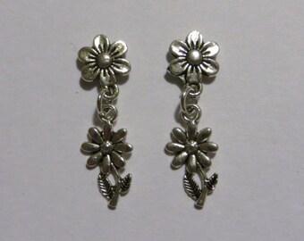 Full Daisy Flower Silver Dangle Magnetic Earrings Flower Stem with Leaf