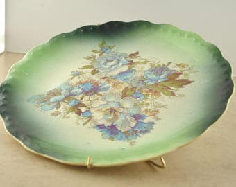 Vintage Carnation McNicol Decorative Plate - Green and Blue Floral Print