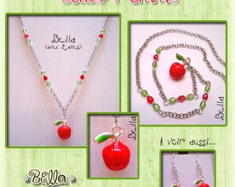 """Necklace """"I love apples!"""" pendant Apple, silver, red and green Bohemian beads"""
