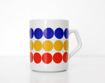 Vintage mug // Zsolnay Pecs Hungarian white mug with polka dots // Primary colors