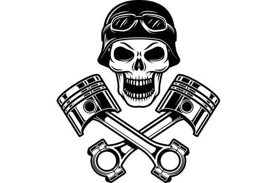 motorcycle logo 9 skull pistons crossed helmet goggles bike