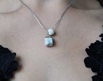 Howlite Pendant, Essential Oil Diffuser Necklace, Aromatherapy Necklace, Valentines Day Gift, Healing, Gemini Gemstone Necklace, Lava Bead