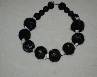 Felted Black Necklace Women jewelry Summer Accessory