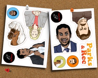 Set of 11 Parks and Recreation Stickers, Ron Swanson, Leslie Knope, Rec, Lil Sebastian
