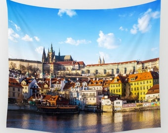 Prague Cityscape Photo Tapestry River Tapestry Water Sunset Sunshine Tapestry Photo Tapestry Sea View Tapestry Hanging Cludy Sky Tapestry