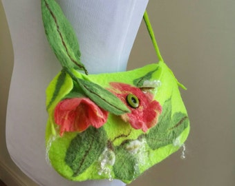 Felted Wool Bag with Flowers.  Shoulder Bag. Chartreuse and Salmon Boho Felted Purse With 3D Blossoms and Leaves. Wearable Art Tote.
