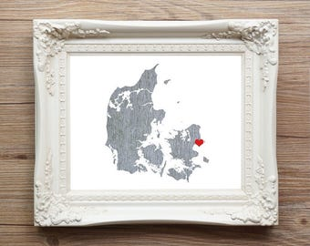 Denmark Art Print - Custom Personalized Heart Print - Custom location - Hometown Wall Art Gift Souvenir Mission