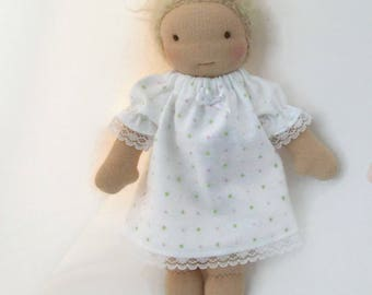 8 to 9 inch Waldorf doll pink and green dots cotton flannel nightgown