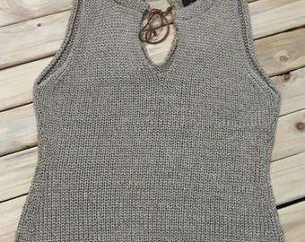 Sweater Knit Tank with Leather Tie
