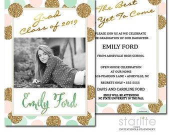 Photo Graduation Card Annoucement Invitation, Colorful Pink Mint Gold Graduation Announcement Card for Girl, 2 sides custom and personalized