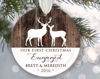 Our First Christmas Engaged Ornament Personalized Christmas Ornament Engagement Ornament Faux wood Engagement Gift Deer Ornament OR496