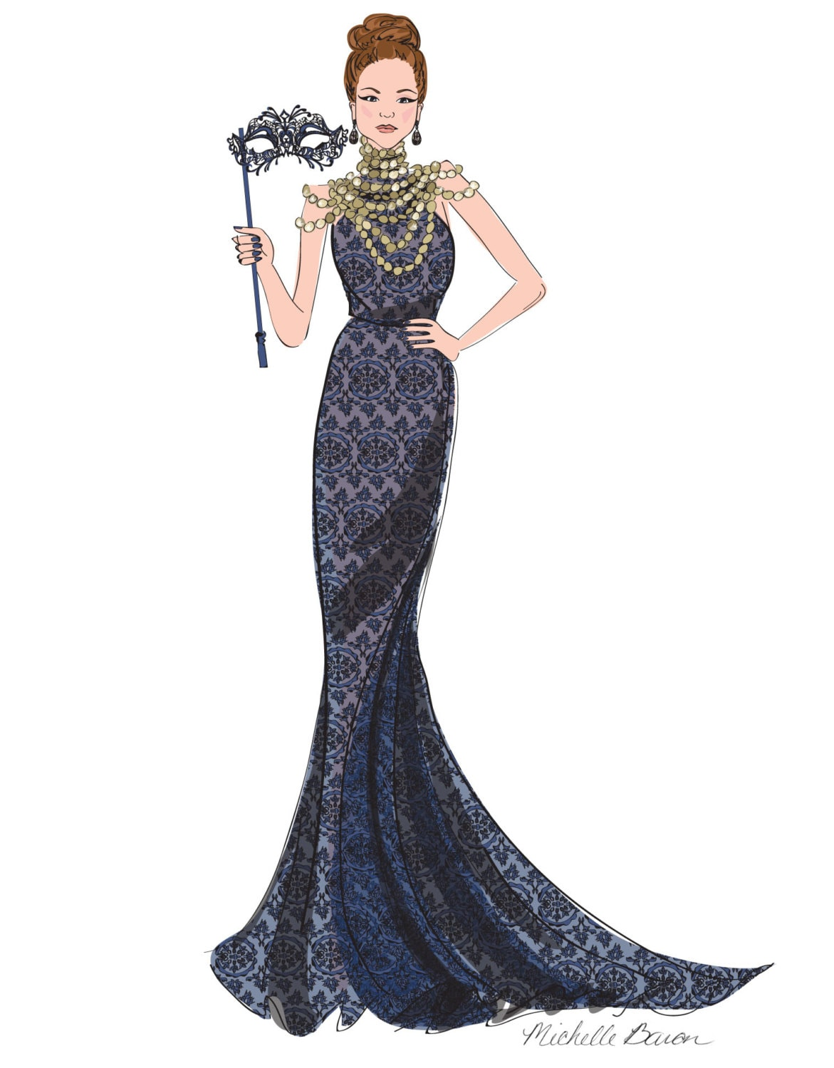 Fashion Illustration Masquerade Ball Ball Gown Elegant