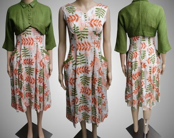 Vintage 1950s Dress | Floral | Bias Cut | Matching Bolero Jacket | 50s Dress | Rhinestones | Pearls | Rockabilly | New Look | Mod |