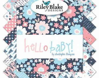 Hello Baby 2 1/2 Inch Strips Jelly Roll, 40 Pieces, Tatooed Quilter Collection, Riley Blake Designs, Precut Fabric, Quilt Fabric, Cotton