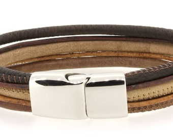 multi-row brown leather bracelet stainless steel magnetic clasp, multi-row, various shades of brown, jewelry for men, gifts for him