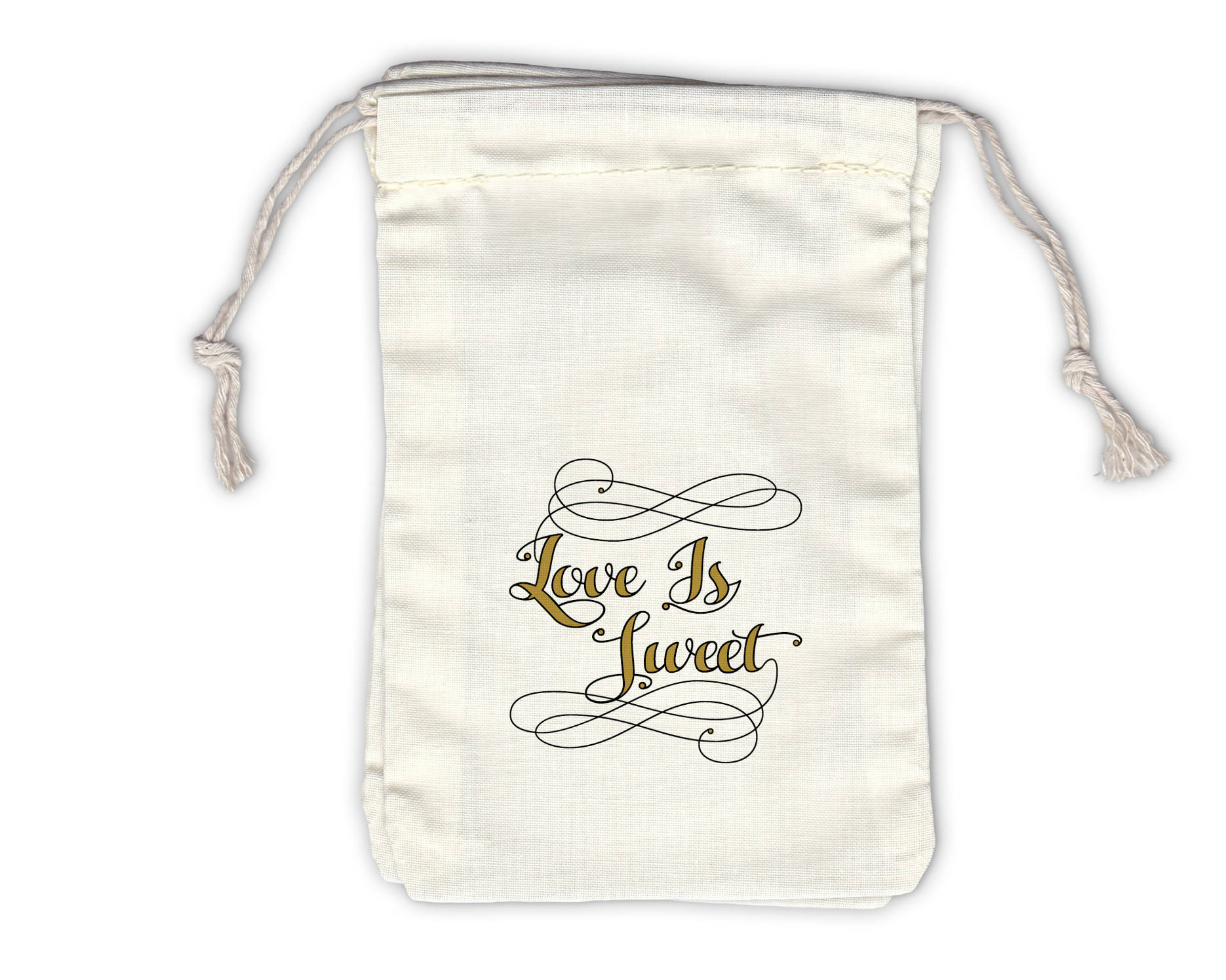 Love Is Sweet Calligraphy Cotton Bags for Wedding Favors in Black ...