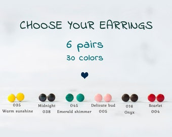 Small stud earrings Set of earrings, Tiny post earrings set, Small earrings set, Set of 6 pairs earrings, Tiny earrings / 6 mm