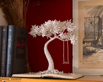 Book Arts - Paper Tree with Swing - Book Sculpture - Altered Book . MADE TO ORDER