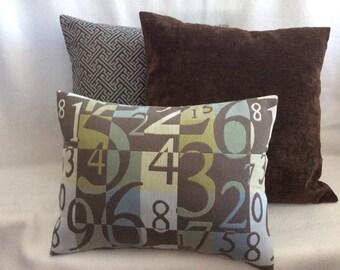 3pc Designer Pillow Cover Set - Blue/ Brown Coordinates