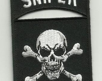 Sniper Tab Skull & Crossbones Military/ Biker Patch