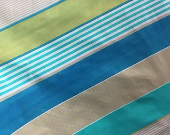 Stripe Quilt Fabric - Blue and Turquoise Stripe Quilt Fabric - Wide Stripe Fabric - !00% Cotton Fabric - Festive Stripe Yardage - 1/2 yard