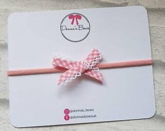 Pink baby headband, gingham bow hairband, baby/girl hair, pink check, new born hair accessory