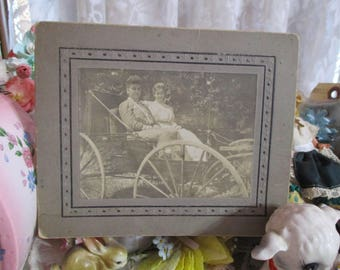 Antique Vintage Photograph Cabinet Card-Maude and Mary in the Buck Wagon