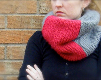 2 DIY Crochet Patterns: Colorblock Cowls, Easy crochet pattern PDF, 2 patterns, striped knit-look neck warmers, InStAnt DoWnLoAd