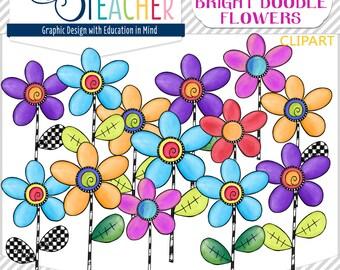 Spring Doodle Flowers Clip Art