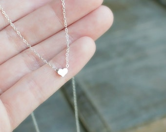Dainty Silver Heart Necklace / Little Heart Pendant on a Sterling Silver Chain / Sweet Heart Necklace Gift for Her • Simple Heart Necklace