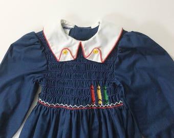 Polly Flinders, Smocked Dress, Child's Dress, Vintage Girls Dress, vtg smocked dress