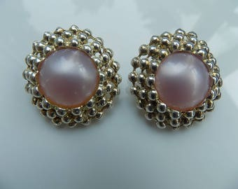 Vintage DMJ Round Gold Pearl Clip Earrings