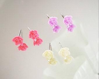 Roses - Earrings, minimalist, pretty, discreet, simple, lightweight, stainless steel, hypoallergenic