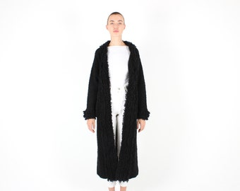 90s Does 60s Shaggy Loop Knit PENNY LANE Almost Famous Groupie Hippie Maxi Long Black Cardigan / Coat / Jacket