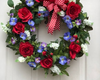 Red Rose Grapevine  Wreath