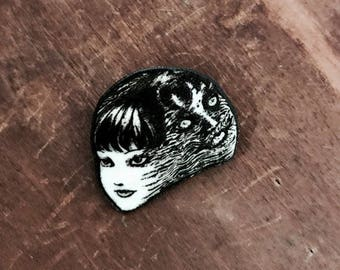 Tomie Junji Ito lapel pin button Manga Graphic Novel