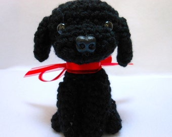 Black Labrador Retriever Crochet Dog, Amigurumi, Canine,Stuffed Animal, Stuffed Dog, Lab, Dog Lover