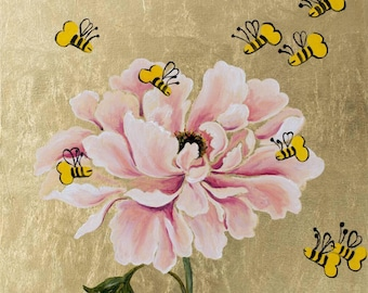 """Paeonia, Oil painting on golden canvas, one of 15 paintings of """"F*cking Bees"""" seria"""