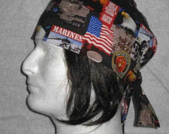 Marines, Army, Do Rag, Skull Cap, Biker Hat, Chemo Cap, Welder Cap, Head Covering, Gift for Her, Gift for Him, Free US Shipping, Fathers Day