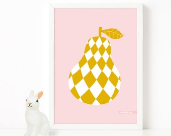 La Poire - Pear Poster - A2 / Pink & Mustard