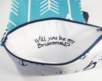 Will you be my Bridesmaid - Maid of Honor - Cosmetic Bag - Personalized Make up Pouch - Bridesmaid bags - Toiletry Bag - Medium
