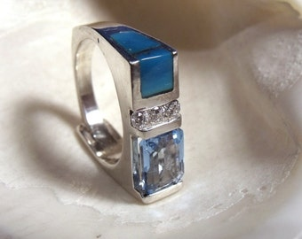 Blue Topaz Cubic Zirconia and Blue Turquoise in Sterling Silver Ring RF028