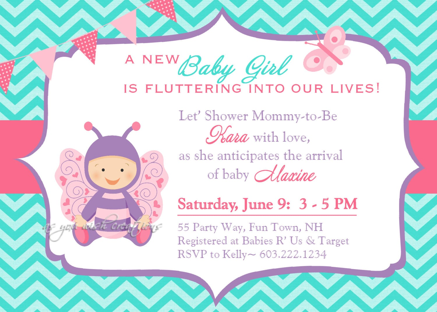 Butterfly Baby Shower Invitation Girl Butterfly Baby Shower