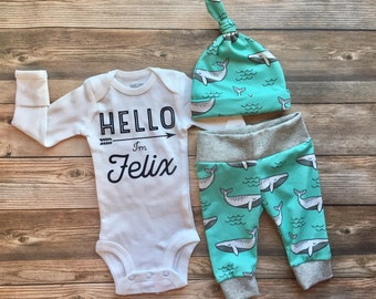 Mint Whale Custom Newborn Coming Home Outfit, Hello I'm Name bodysuit, Hello Baby, Whale Nursery, Whale Theme, Baby Boy Outfit