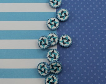 Star of David beads, polymer clay round flat beads, Jewish Symbol in blues turquoise and white, set of 10 Polymer clay beads