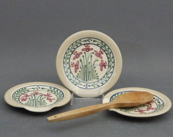 Spoon Rest  Red and Pink Flowers  on White Background Stoneware Pottery - Stoneware Pottery
